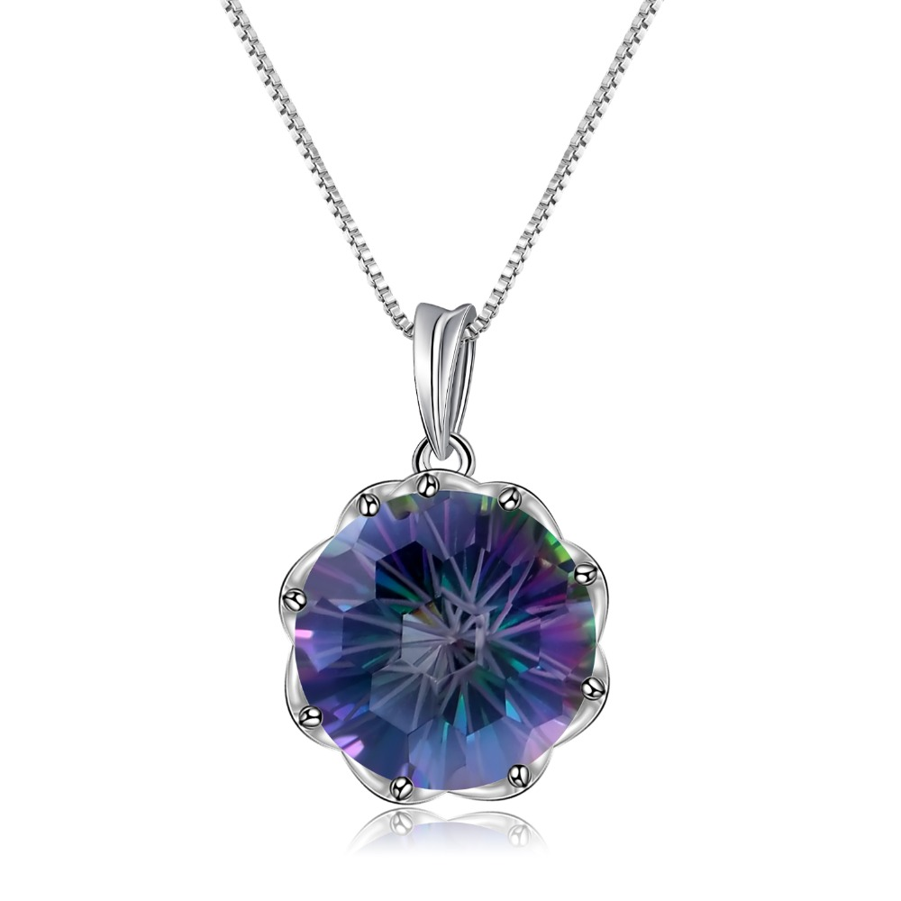 GEM'S BALLET 9.64Ct Natural Rainbow Mystic Quartz Round Gemstone Pendant Necklace For Women 925 Sterling Silver Fine Jewelry New