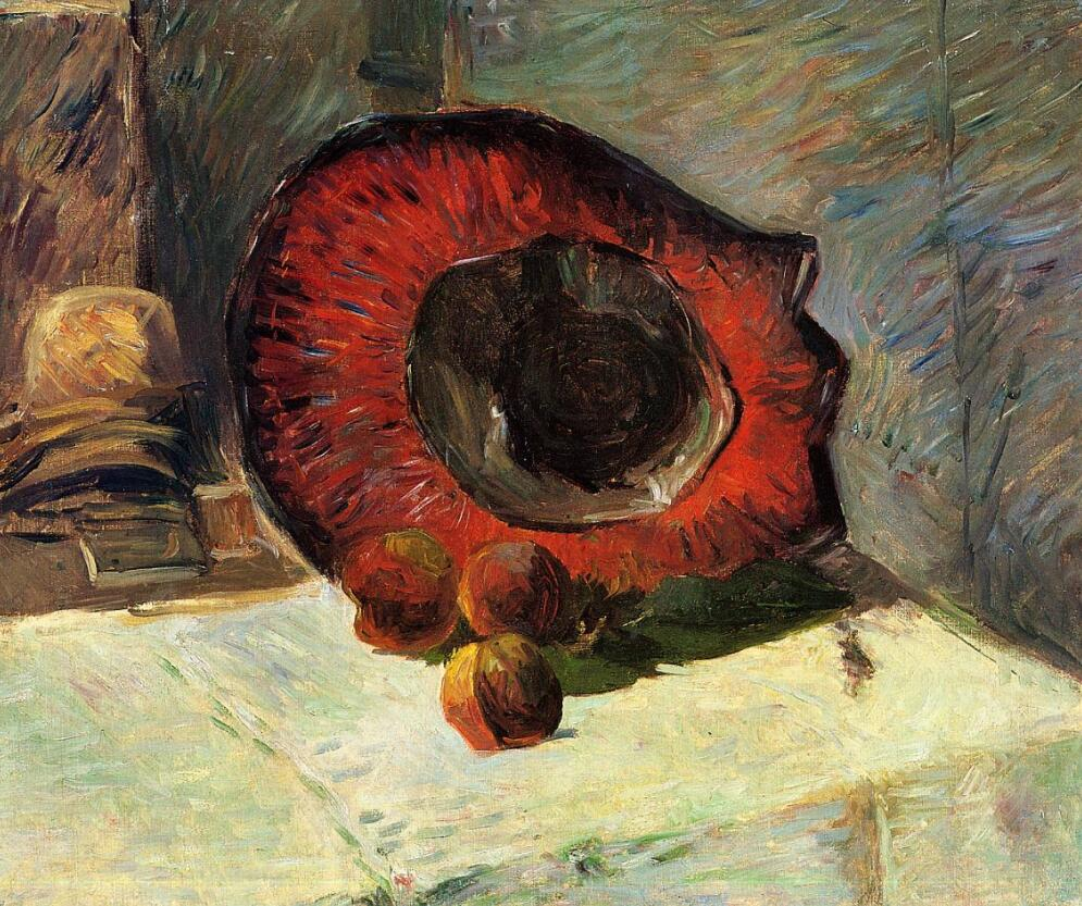 High quality Oil painting Canvas Reproductions Red hat (1886)  by Paul Gauguin hand paintedHigh quality Oil painting Canvas Reproductions Red hat (1886)  by Paul Gauguin hand painted