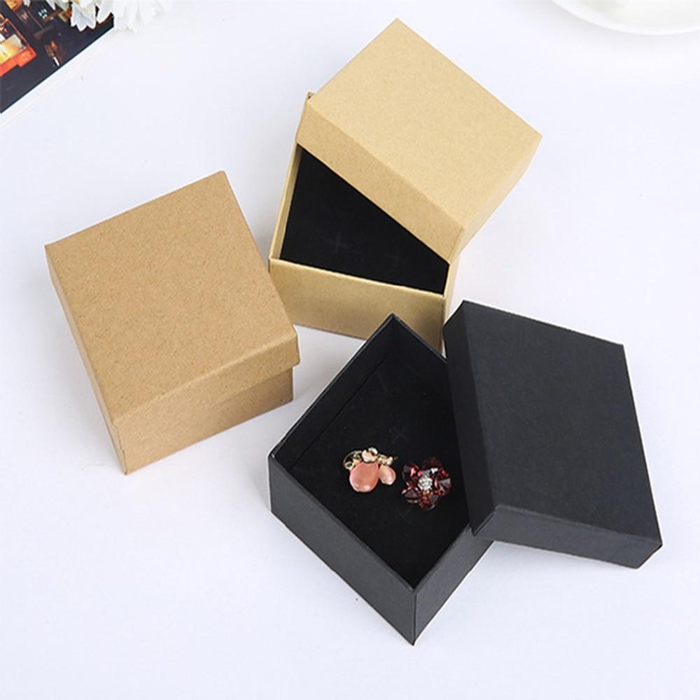 24Pcs/Lot Kraft Gift Box 7cmx7cmx3cm Jewelry Packaging Box Soap Candy Chocolate Wedding Jewellery Storage Box Can Print Logo