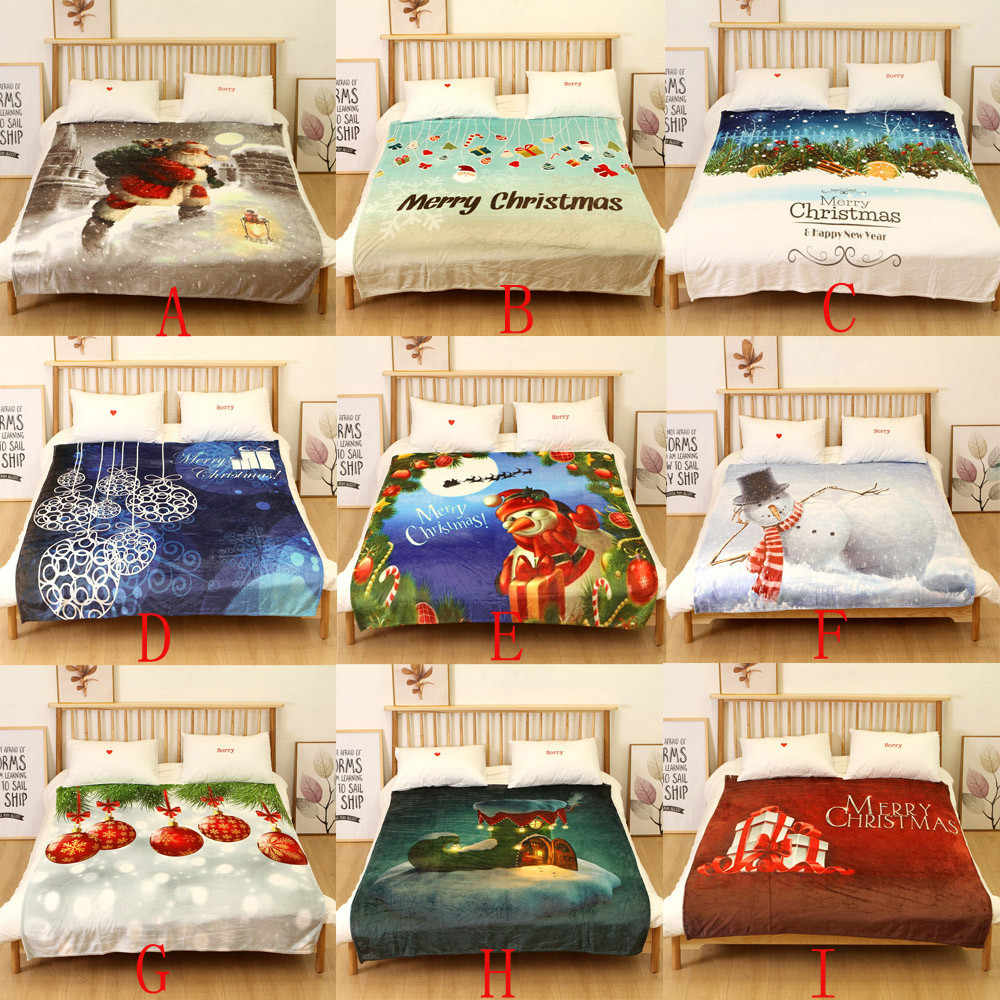 Christmas Blanket Flannel Fabric Sofa Bed Blanket 150X200CM
