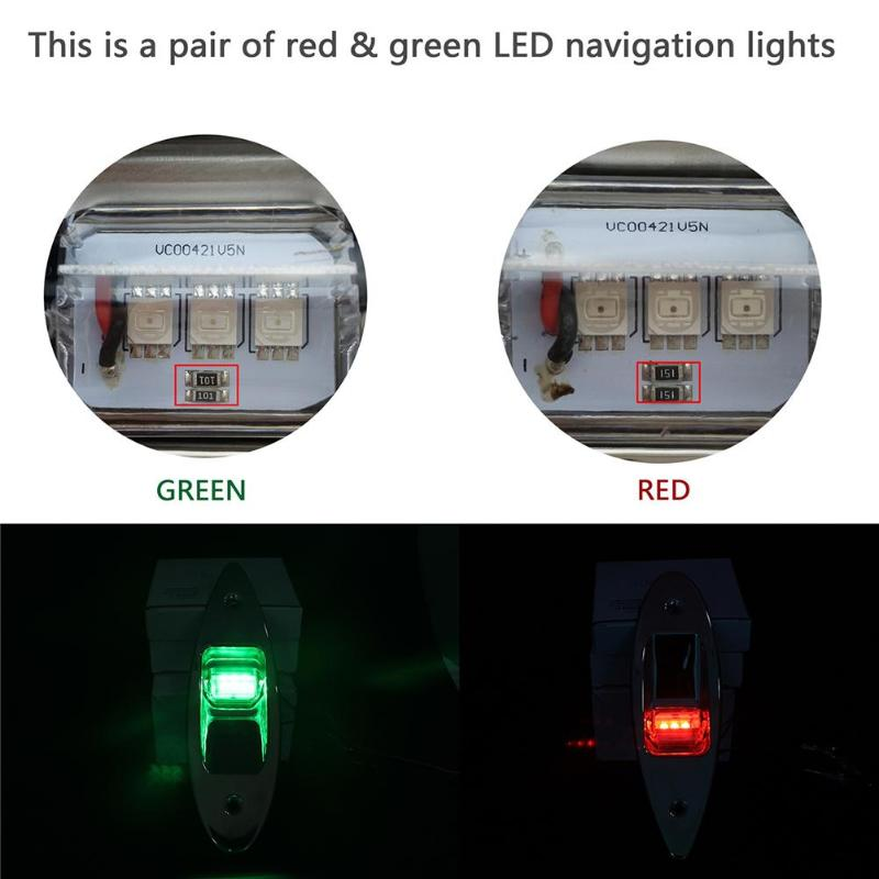 Image 5 - 1 Pair 12V Flush Mount Marine Boat RV Side Navigation Light Red Green LED Stainless Steel Yacht Side Bow Tear Drop Lamp-in Marine Hardware from Automobiles & Motorcycles