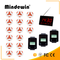 Mindewin Wireless Calling Paging System 3 Touch Watch Receiver +1 LED Display +15 White Call Button For Restaurant & Fast Food