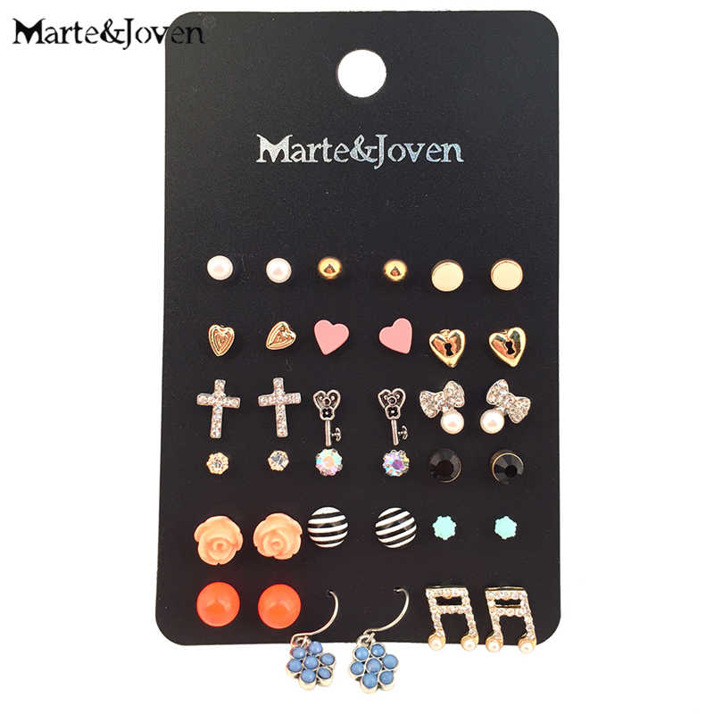 Wholesale 18 Pairs/Pack Mixed Cross Heart Flower Key Stud Earring Sets Multicolor Geometric Stud Earrings Set for women