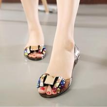 15bb1e13e64a23 Women Sandals 2018 Summer Bling Bowtie Decoration Fashion open toe Jelly  Shoes Sandal Flat Shoes Black · 2 Colors Available