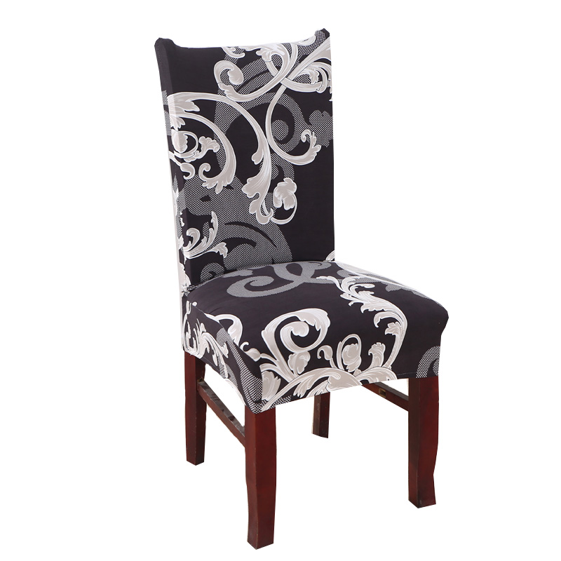 Nordic Style Spandex Polyester Stretch Dining Room Chair Covers Deep Color Floral TotemSeat Cover Office Kitchen Chair Case