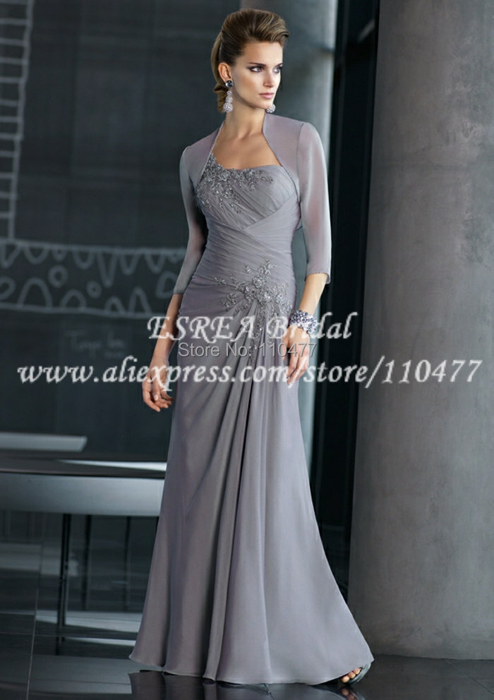 Elegant Appliqued Long Chiffon Silver Grey Mother Of The