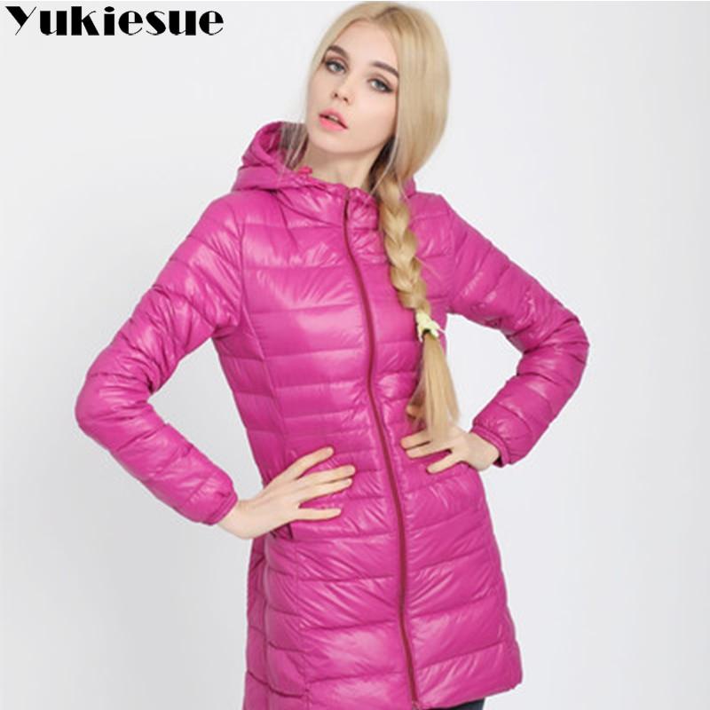 Winter Jacket Women Ultra Light Down Jacket Women Hooded Coat 90% Duck Down Jacket Packable Thin Feather long Parka Plus size