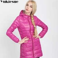 a6b049ca9 Winter Jacket Women Ultra Light Down Jacket Women Hooded Coat 90% Duck Down  Jacket Packable Thin Feather long Parka Plus size