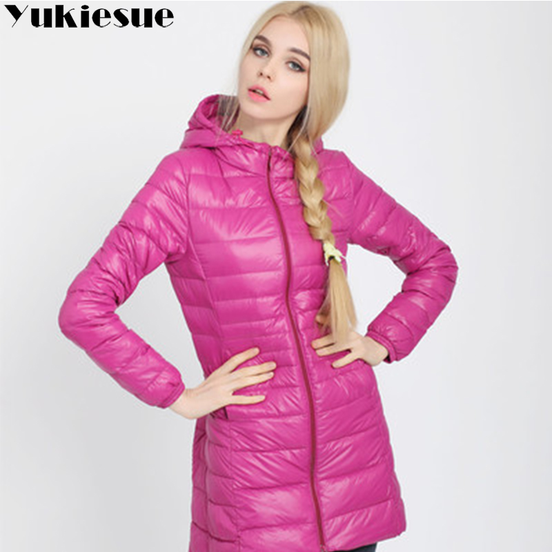 Winter Jacket Women Ultra Light   Down   Jacket Women Hooded   Coat   90% Duck   Down   Jacket Packable Thin Feather long Parka Plus size