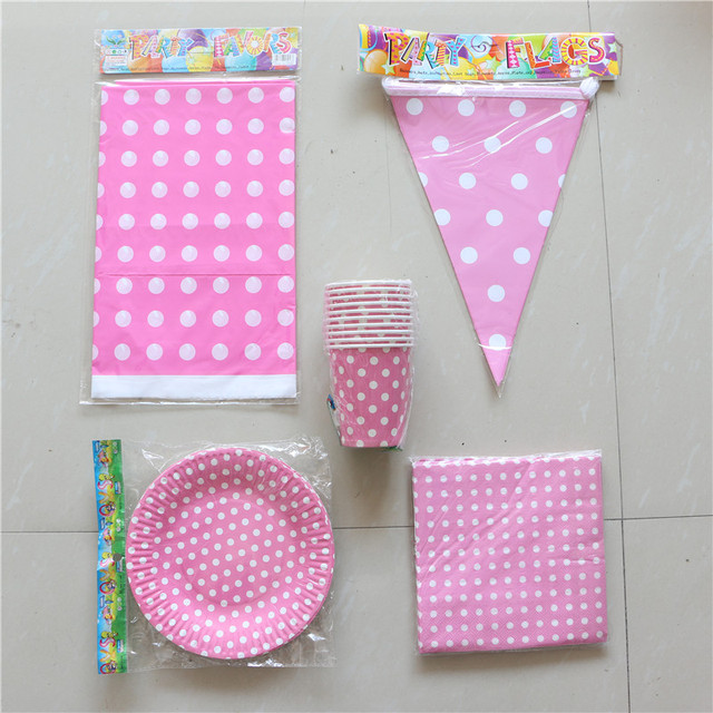 Pink Polka Dot Theme Birthday Party Supplies Disposable Cups Plates Napkins Table Cloth Baby Shower Favors