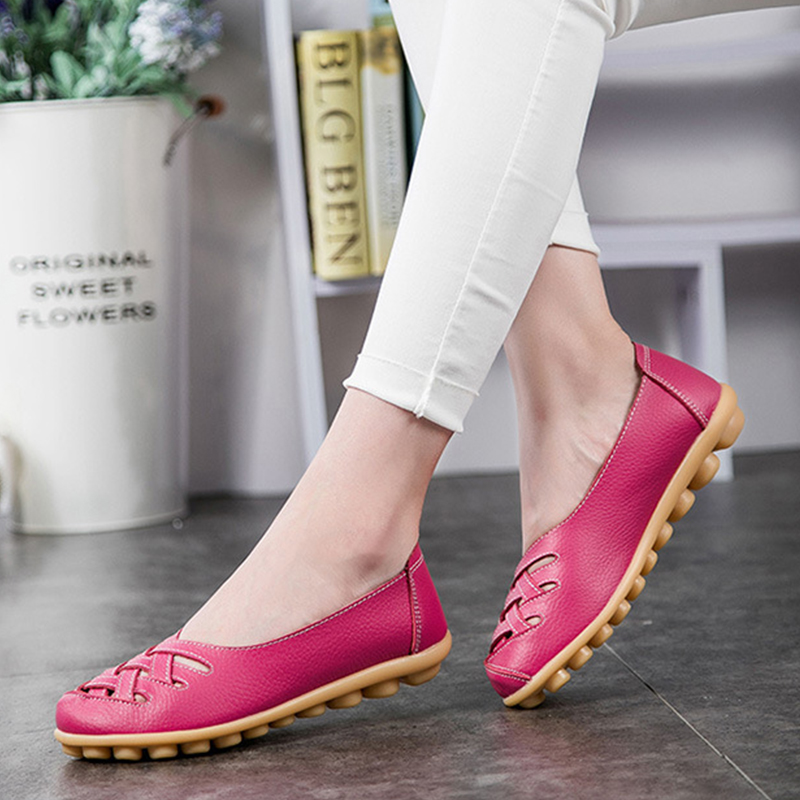 2017 New Fashion Summer Woman Flats Cut-outs Breathable Flats Shoes Solid Color Comfortable Round Toe Women Casual Shoes ST181