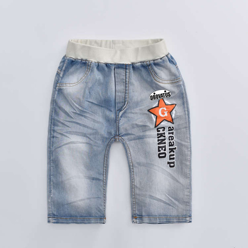2020 hot summer design light blue star print kid short pants boys shorts elegant jeans denim shorts for teen children 3-13 years 7