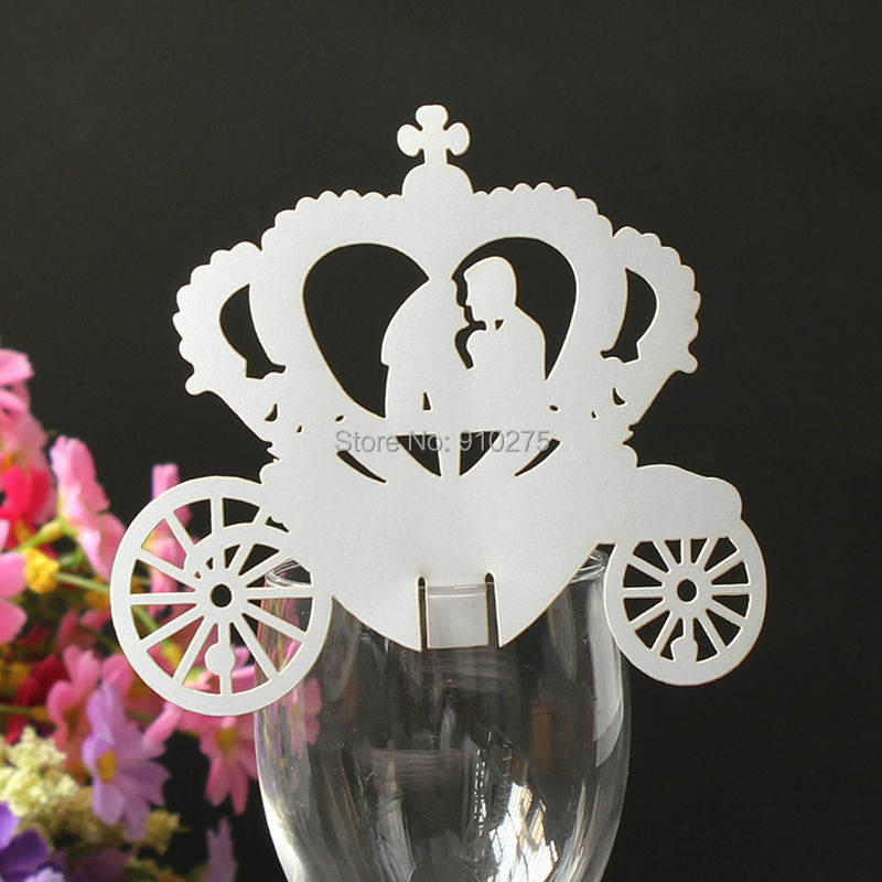 wholesale 300pcs elegant laser cut bride groom in carriage design place cards table name number cardwedding party accessories