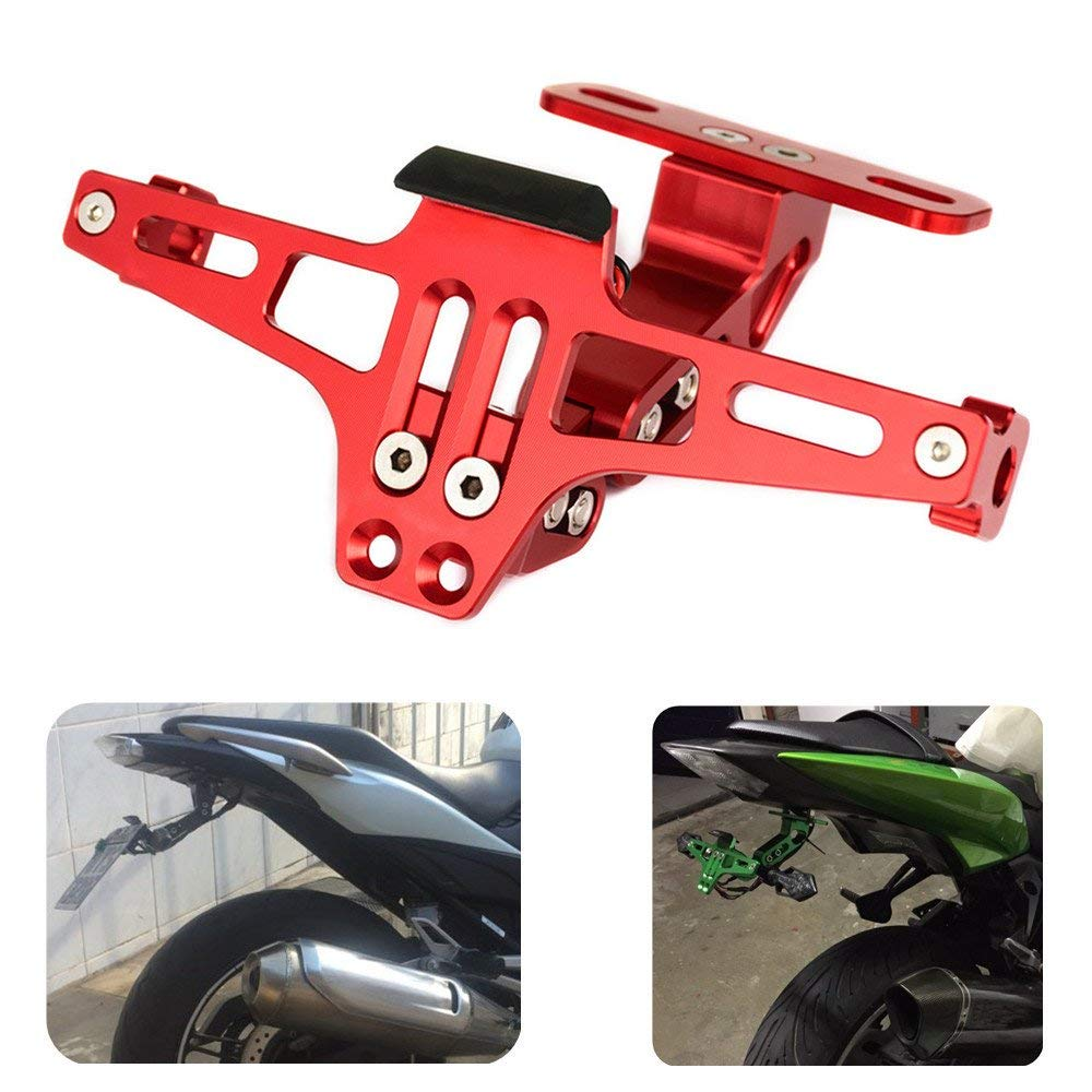 KEMiMOTO Universal CNC Aluminum Motorcycle Rear License Plate Mount Holder For Honda For Kawasaki Z750 R3 Z800 R6 MT07 MT09 MT10 цены