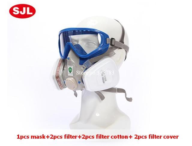 Máscara de La Cara llena de Gas h2s 7 Trajes Orgánicos Y Gases Ácidos Defensa Spray Aliento Pesticidas Pintura Respirador de Polvo Químico Máscara de Gas