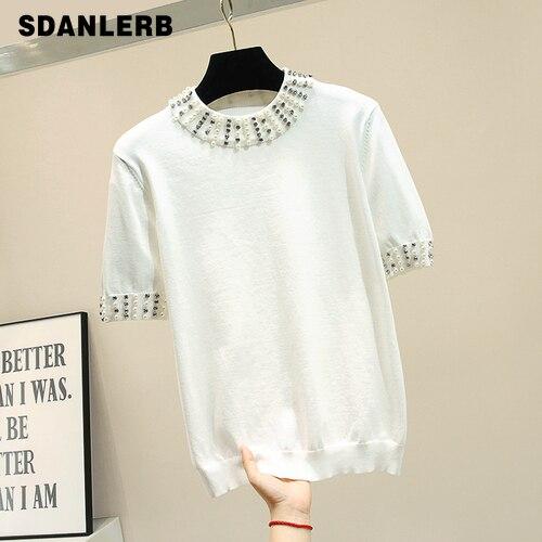T-shirt tricoté en soie de glace femmes été tricots minces 2019 perles de l'industrie lourde coréenne noir et blanc manches courtes T-shirt lâche