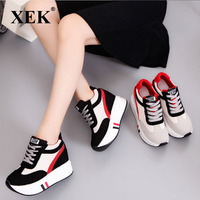 XEK 2018 Spring Autumn Women Sneakers Platform Shoes Height Increasing Casual Shoes Wedges Trainers Tenis Feminino ZLL138