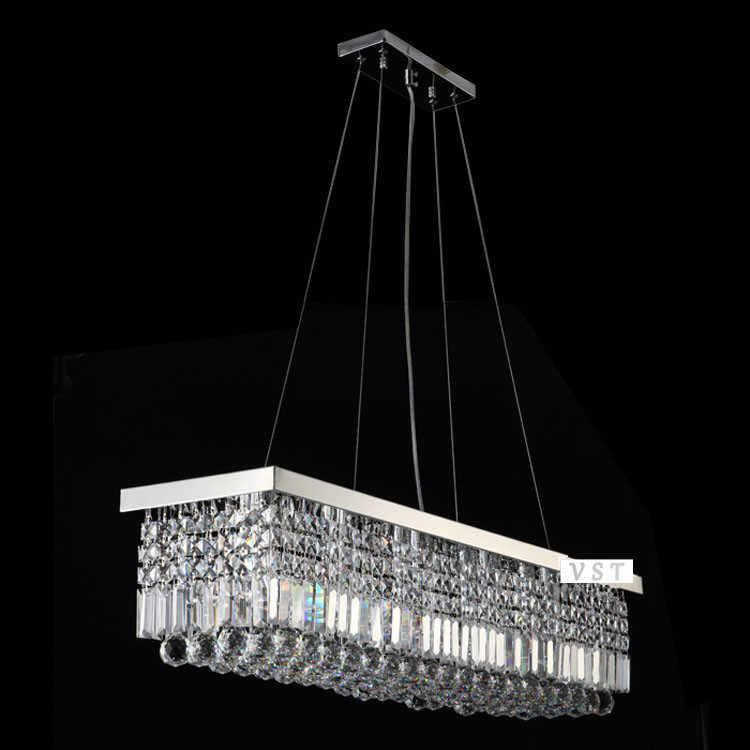 Panjang 1500mm BARU Modern Kristal Chandelier untuk ruang makan Persegi Panjang Kristal Liontin Chandelier fixture