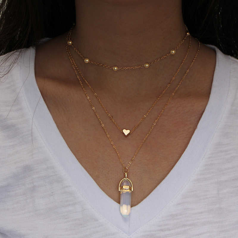 NEW Vintage Opal Stone Chokers Necklaces Fashion Multi Layer Crystal Heart Pendant Necklace Statement Bohemian Jewelry for Women