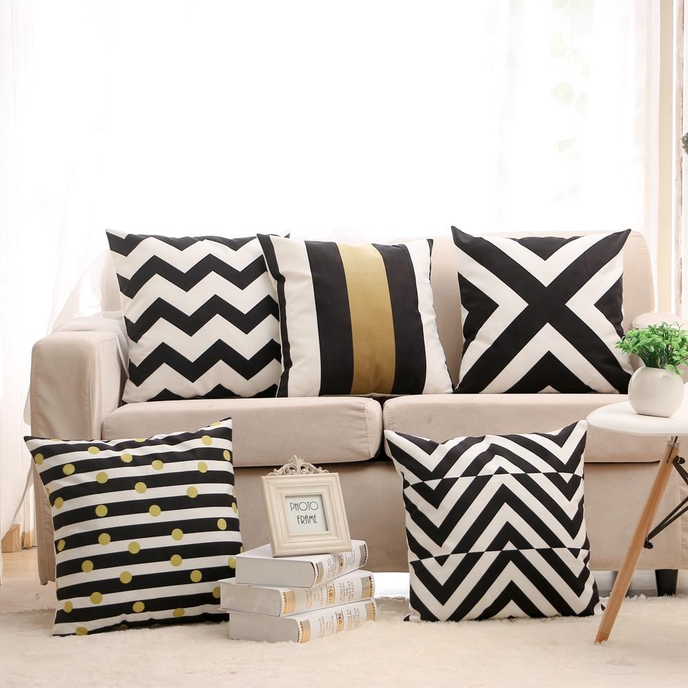Morbido velluto strisce geometriche stampato caso cuscino - Cuscino per divano ...