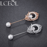 LCEOL Luxury Paved CZ with Imitation Pearl Big Flower Brooches for Women Costume Jewelry Rhinestones Crystal Brooch Pins Gifts