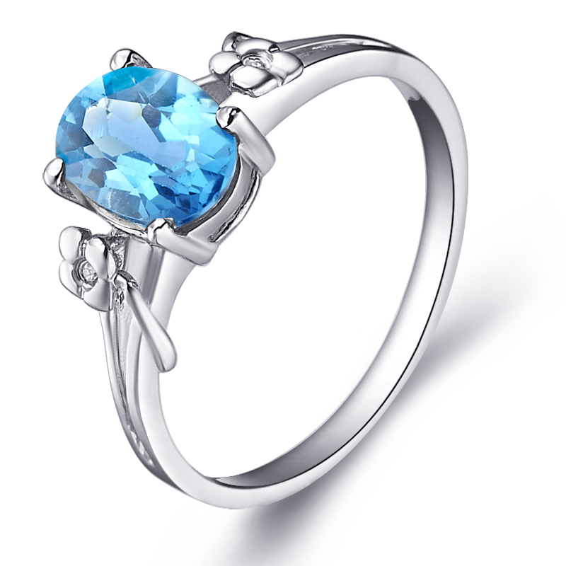 Natural Blue Topaz Ring 925 Sterling silver Flower Woman Fashion Fine Elegant Jewelry Princess Birthstone Gift sr0490b anniversary ring necklace earrings jewelry set natural aaa blue topaz stone birthstone woman fine 925 sterling silver jewelry