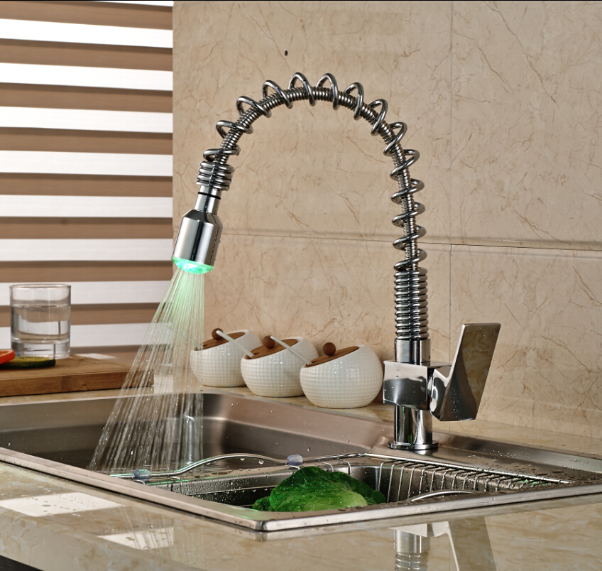 Chrome Spring Pull Down Spray Kitchen Sink Faucet Single Handle One Hole Mixer Tap In Faucets From Home Improvement On Aliexpress Alibaba