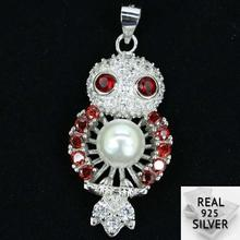 Guaranteed Real 925 Solid Sterling Silver 4.5g Deluxe Red Blood Ruby White Pearl CZ Pendant 37x17mm