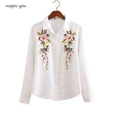 6298eee56a5 Nvyou gou 2018 цветочной вышивкой блузка рубашка для женщин Тонкий Белый  Топы корректирующие с длинным рукавом