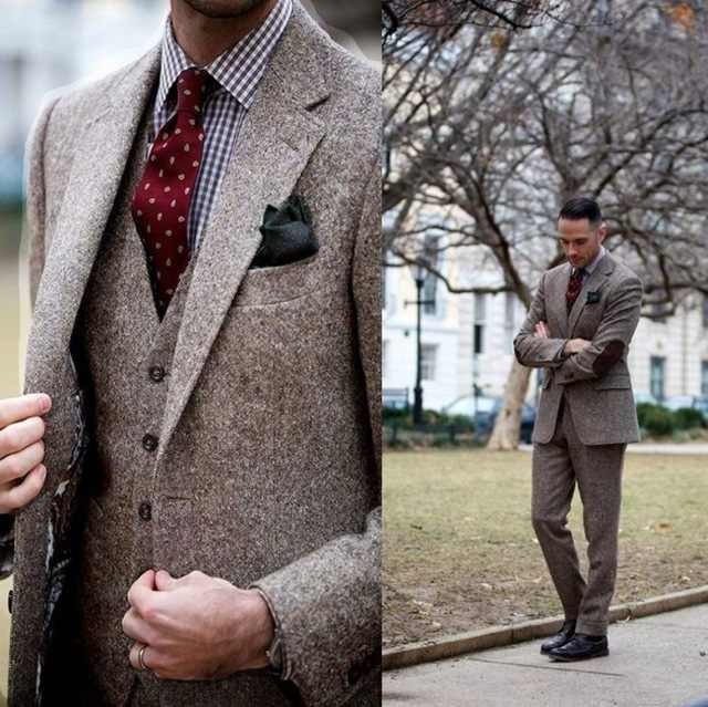 Latest Vintage Winter Suits Brown Tweed Men Suits With Patch Design 3 Pieces Costume Homme Smart Business Formal Wedding Suit
