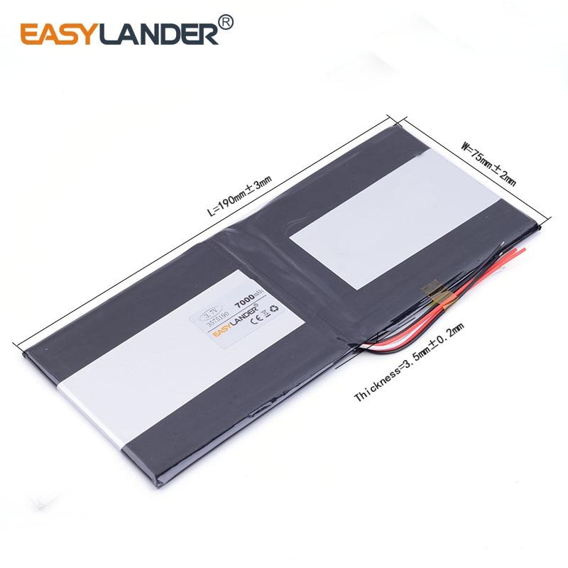 10pcs/Lot best battery brand 3.7V lithium polymer batteries 7000mah 3575190 tablet MID built-in battery for cell phone speaker