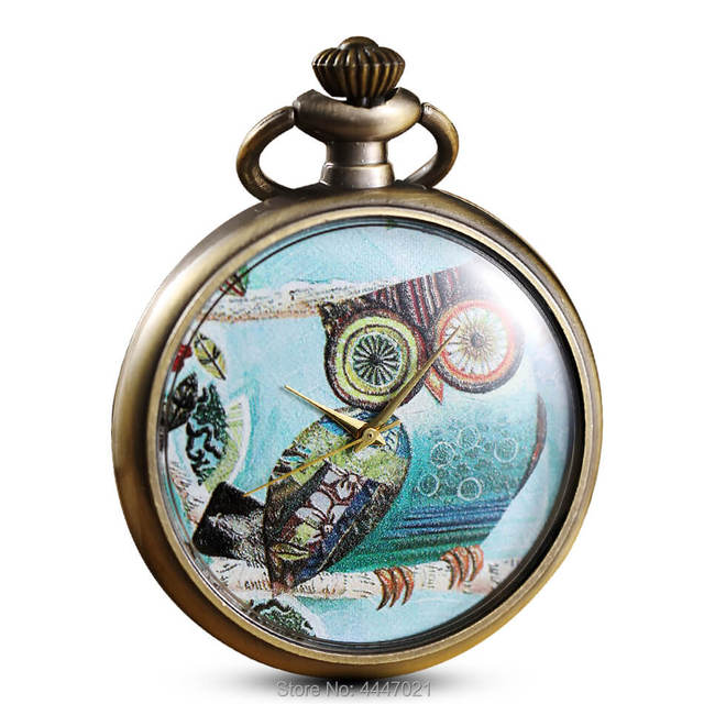 Printing Owl Pocket Watch Chains Vintage Quartz Personalised Pocket Watches Stea
