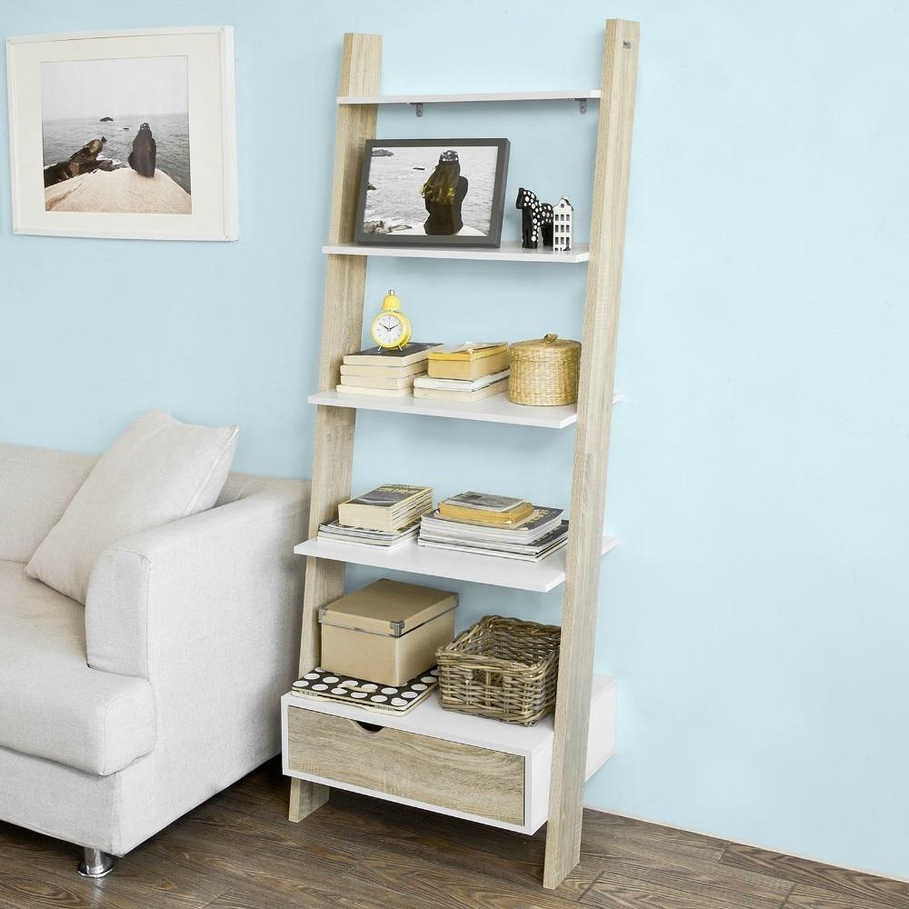 SoBuy FRG112-WN, Ladder Shelf Wall Shelf Bookcase Storage Display Shelving Unit with 4 Shelves and Drawer