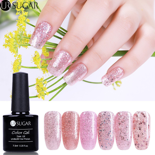 Ur Sugar Luminous Gel Polish Rose Gold Shiny Glitter Uv Fluorescent 7 5ml Soak