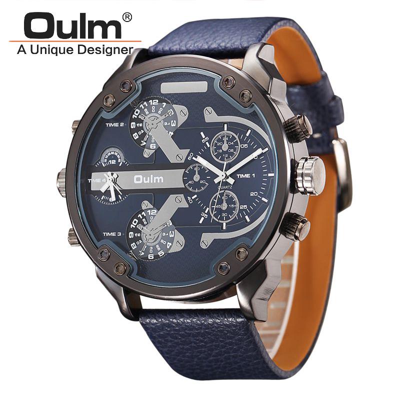 Prix pour Célèbre designer hommes montres top marque de luxe quartz-montre oulm bracelet en cuir grand visage militaire quartz horloge relogio masculino