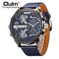 Famoso Diseñador Para Hombre Relojes de Primeras Marcas de Lujo de Cuarzo Reloj de Cara Grande de La Correa de Cuero de Cuarzo Militar Oulm Reloj relogio masculino