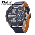 Famous Designer Mens Watches Top Brand Luxury Quartz-Watch Oulm Leather Strap Big Face Military Quartz Clock relogio masculino