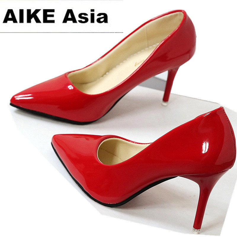 Pointed Toe Pumps Patent Leather Dress Shoes High Heels Boat Shoes Wedding Shoes Zapatos Mujer 8.5cm/4cm