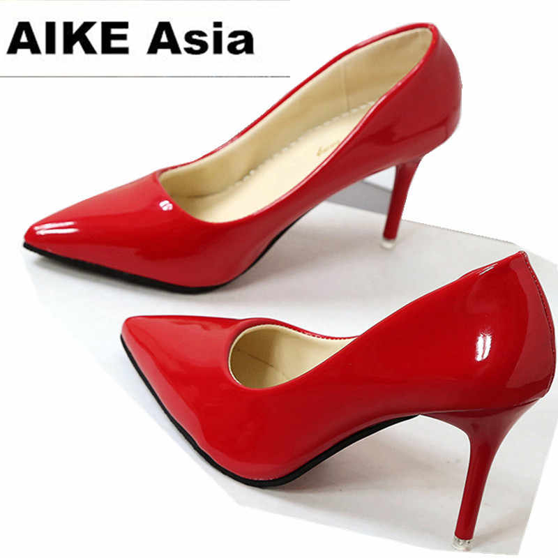 2019 HOT Women Shoes Pointed Toe Pumps Patent Leather Dress Shoes High Heels Boat Shoes Wedding Shoes Zapatos Mujer 10cm/7cm