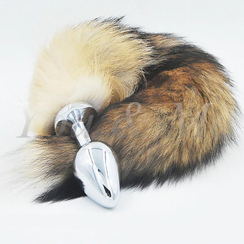 New Big Anal Plug Fox Tail Stainless Steel Butt Plug Cat -3854