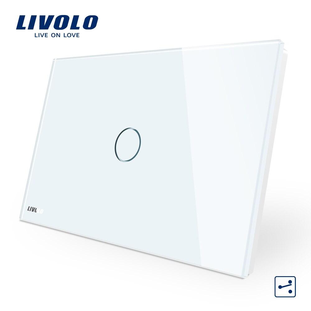 LIVOLO AU/EUA padrão de Toque, interruptor de Toque, interruptor cruz, 1-gang 2-forma, toque Interruptor de Luz da Tela, Painel de Vidro Cristal Branco