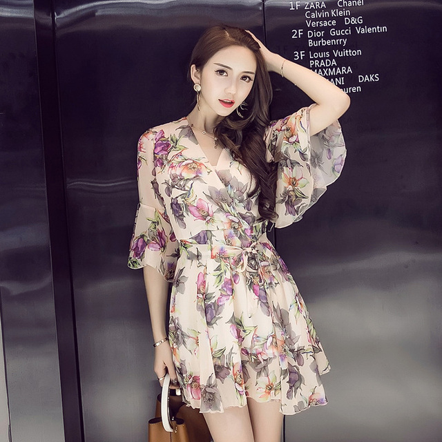d8a0422a5ac Summer Fashion 2018 New Women S Clothing Elephant Apricot Pink Dresses V  Collar Lotus Sleeve Floral Dresses