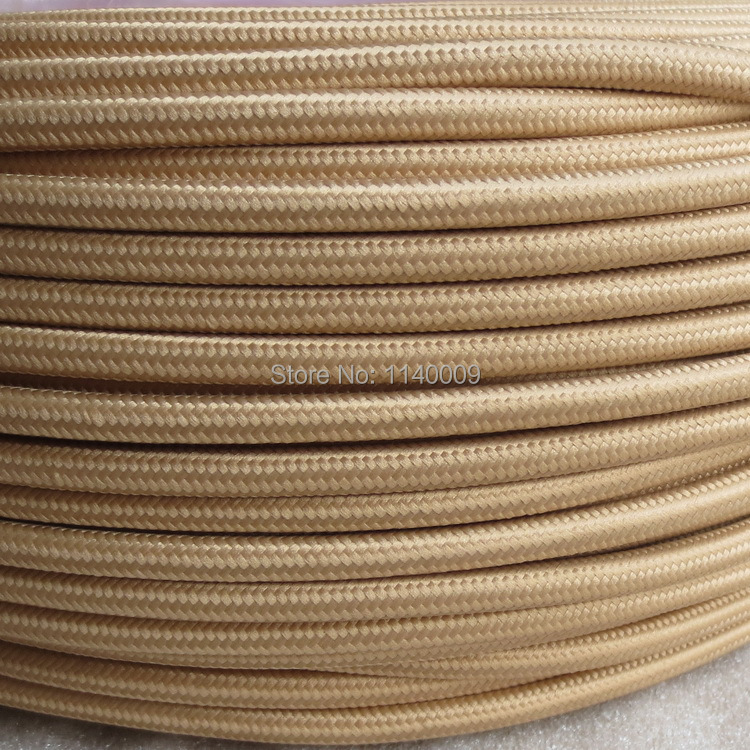 Khaki Twisted Braided Fabric Cable 3-Core 0.5mm for lighting