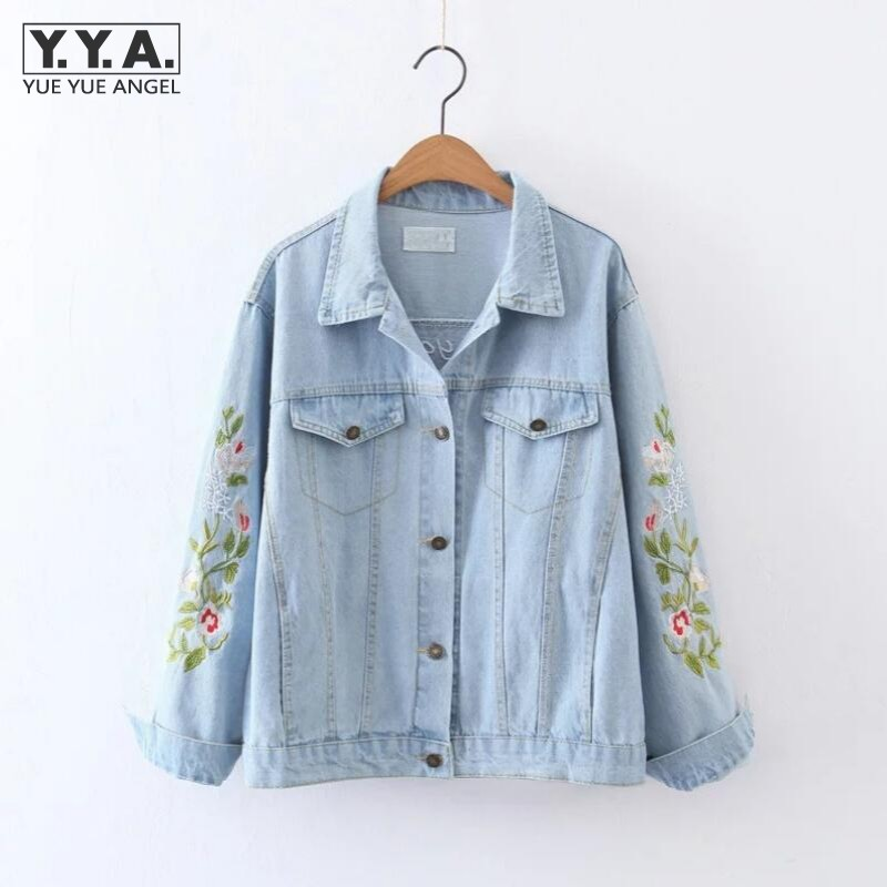 Flower Embroidery Women Basic Jacket Coats White Demin Jacket For Women Slim Fit Korean Style Female Jeans Long Sleeve Jackets