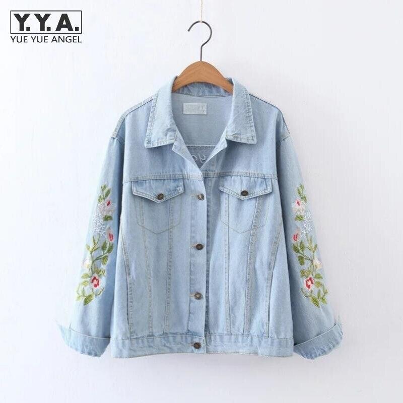 Flower Embroidery Women   Basic     Jacket   Coats White Demin   Jacket   For Women Slim Fit Korean Style Female Jeans Long Sleeve   Jackets