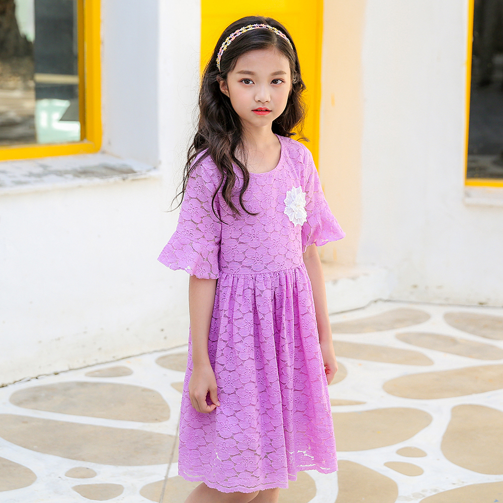 все цены на B-S123 New Fashion Spring Girls Elegant Dresses Summer Short Sleeve Princess Dress 5-14T Teenager Kids Solid Color Lace Dress