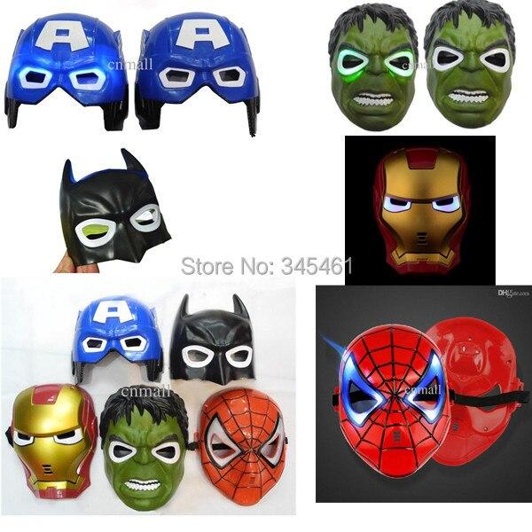 15pcs led flash mask captain america superhero iron man toys luminous flash spiderman batman hulk party