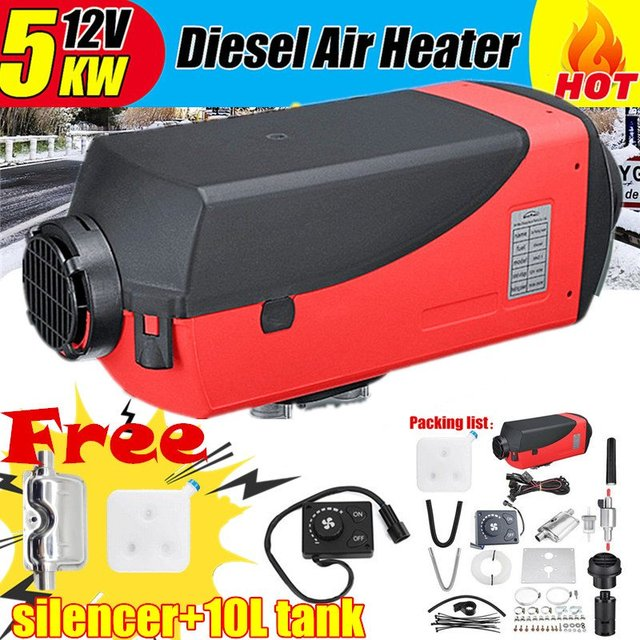 5KW deep Single Hole Heater Air Parking Heater Rotary Switch LCD Switch and Digital Switch With Muffler Silencer