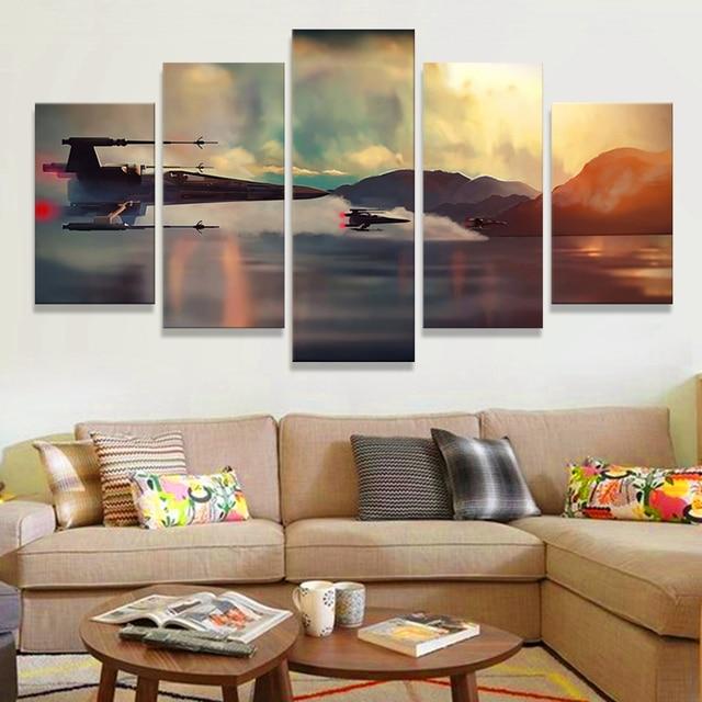 JHLJIAJUN Leinwand Malerei Star Wars Poster Wandkunst Malerei Für Wohnzimmer  Zimmer Wand 5 Panel Pop Kunst