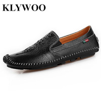 KLYWOO Handmade Genuine Leather Casual Mens Shoes Spring Fashion Men Designer Luxury Brand Breathable Loafers Men